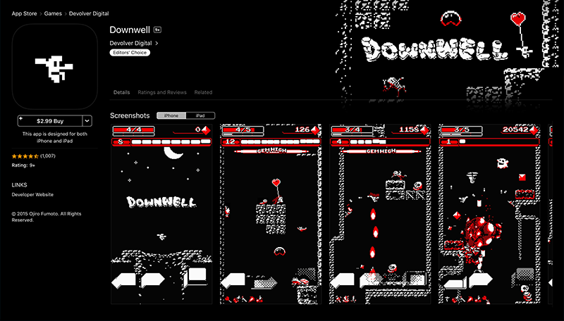 Effective Game Icon Design - Downwell Game Screenshots and Icon