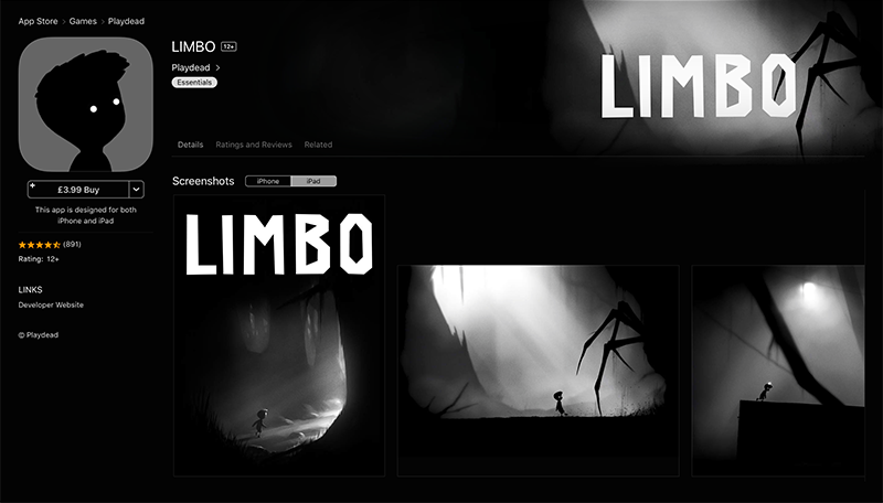 Effective Game Icon Design - Limbo Game Screenshots and Icon