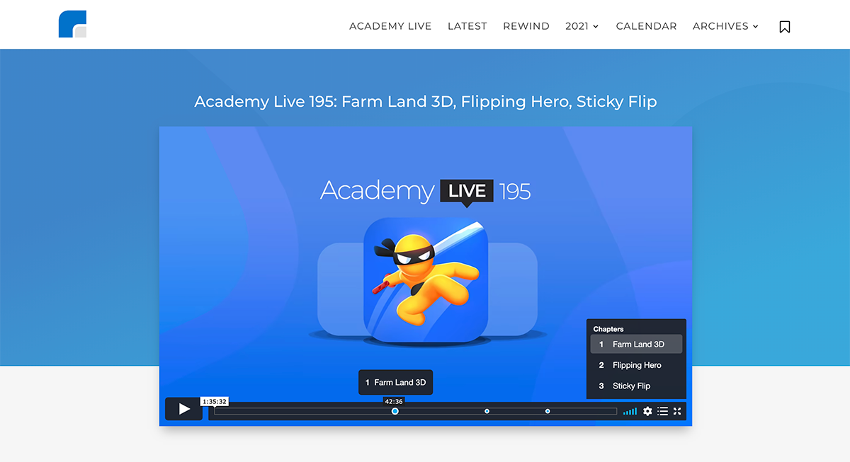 Academy Live - Hyper Casual Game Design Show - Video Chapters