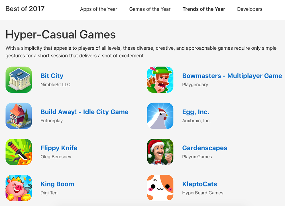 Apple Trends 2017 - Hyper Casual Games